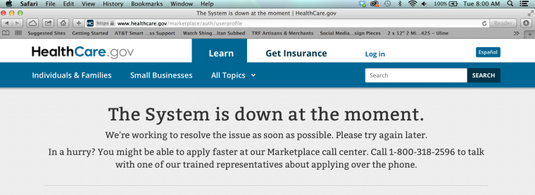 healthcare marketplace system is down